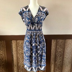 Enfocus White and Blue Smocked Dress